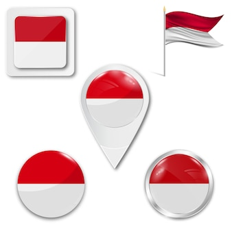 Set icons national flag of indonesia