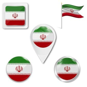 Set icons national flag of iran