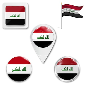 Set icons national flag of iraq