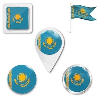Set icons national flag of kazakhstan