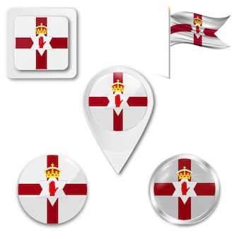 Набор значков национального флага северной ирландии