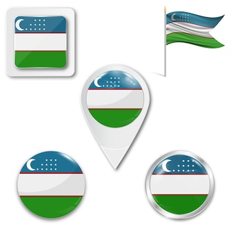 Набор иконок национального флага узбекистана