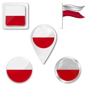Set icons national flag of poland