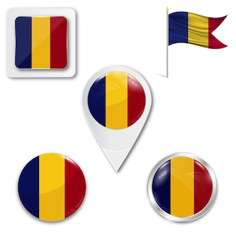 Set icons national flag of romania