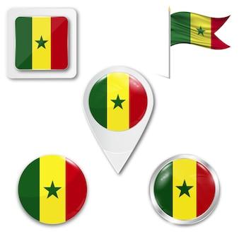 Set icons national flag of senegal