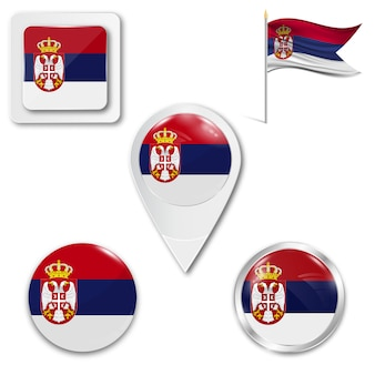 Set icons national flag of serbia