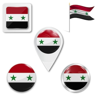 Set icons national flag of syria