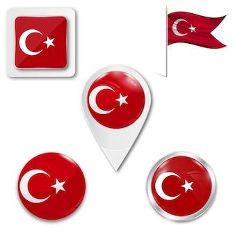 Set icons national flag of turkey