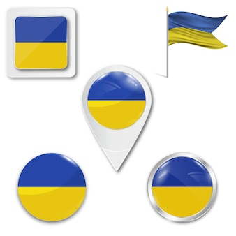 Set icons national flag of ukraine