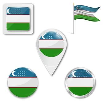 Set icons national flag of uzbekistan