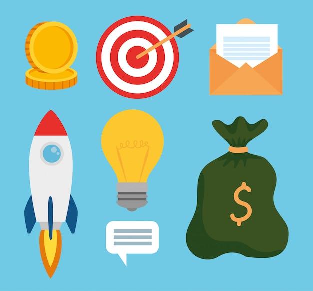 Набор иконок бизнес запуска концепции