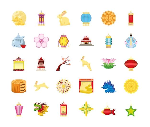 Набор иконок китайского фестиваля луны