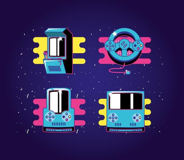 Набор иконок устройств видеоигры в стиле ретро