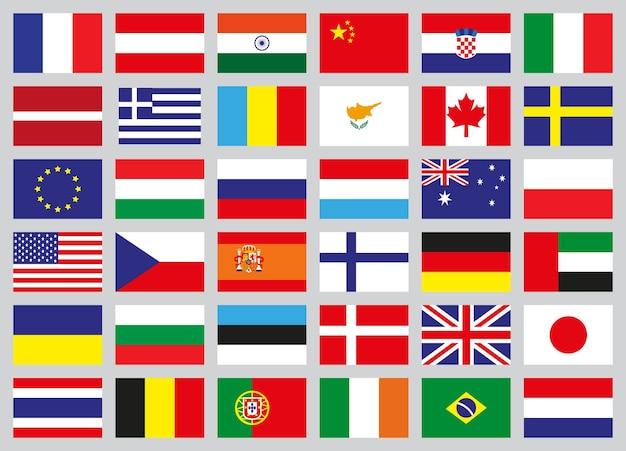 Установите значки флагов разных стран. векторная иллюстрация. Premium векторы