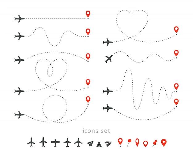 Установить значки пути путешествия на самолете. взлет и посадка пассажирского самолета. элементы маршрута полета инфографики.