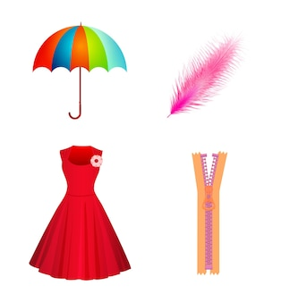 傘、ドレス、羽ペン、白い背景で隔離のジッパーのアイコンを設定します。フラットスタイル。