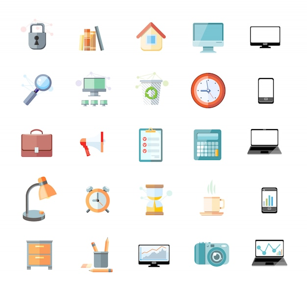 Set of icons for office and time management with digital devices and office objects