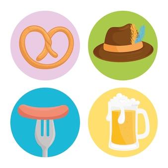 Набор иконок, фестиваль празднования октоберфест векторные иллюстрации дизайн