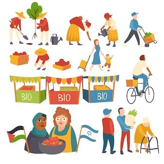 Set di icone persone che piantano alberi, raccolta del raccolto sul campo, madre con bambino, donne con raccolto che tiene bandiere palestinesi e israeliane, prodotti bio nell'illustrazione piana del fumetto di cabine del mercato