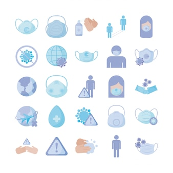 Set of icons prevention, protection of coronavirus , flat style icon