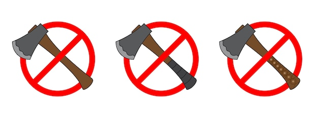 Set of icons of prohibition of a ax