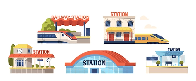 Set of icons railway stations modern building facade design with electric train, platform with digital schedule display and hanging clock isolated on white background. cartoon vector illustration