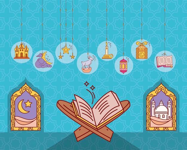 Set of icons ramadan kareem