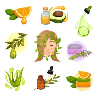 Set of icons related to natural cosmetic theme. essential oils. skin care products from organic plants