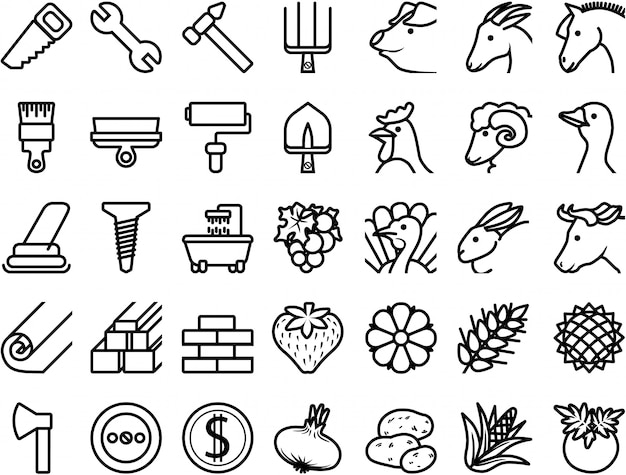 Set icons repair, building materials, farm animals, plants