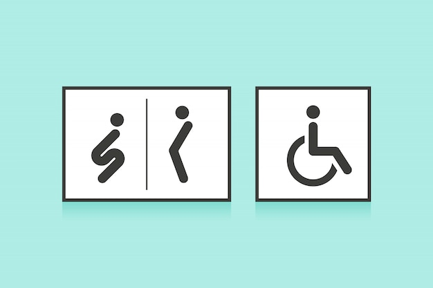 Set of icons for restroom or toilet. man, woman and wheelchair person symbol