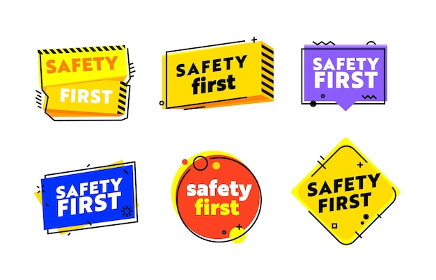 Set of icons safety first. zero accident graphic element in linear style isolated on white background. work safety symbol or sign, road caution hazard, danger surveillance. vector illustration, banner