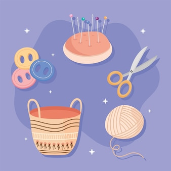 Set of icons sewing