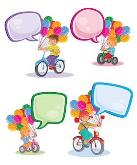 Set icons small children on bicycles