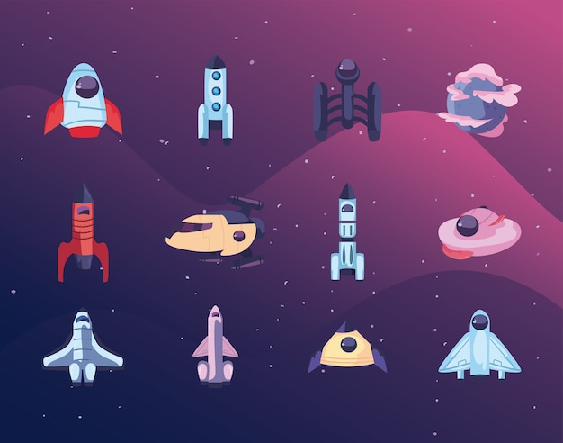 Set icons of spaceships, space rocket and planet
