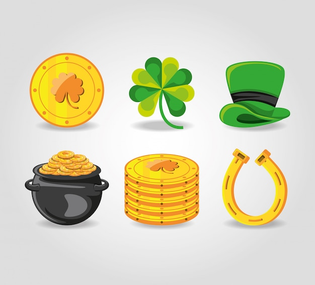 Set icons of st patrick day