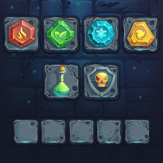 Set icons on the stone buttons. for games, user interface, design.