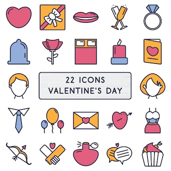 Set of icons in style monoline for happy valentine's day.