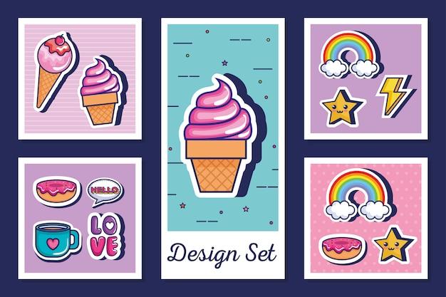 Set of icons style pop art