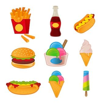 ジャンクフードのハンバーガー、ホットドッグ、フライドポテト、炭酸飲料、サンドイッチ、カフェバーのアイスクリームメニューのあるモダンな漫画スタイル2dゲームデザインイラストの外の食事のアイコン夏おいしいファーストフードを設定します。