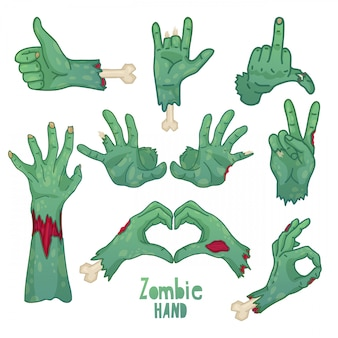 Set of icons, symbols, pin with cartoon zombie hands  collection of gestures dead zombie hands