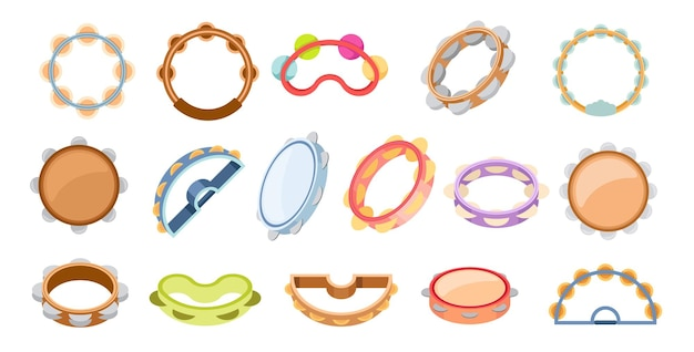 Set of icons tambourines percussion musical instrument of different design. bell drum for music and carnival performance