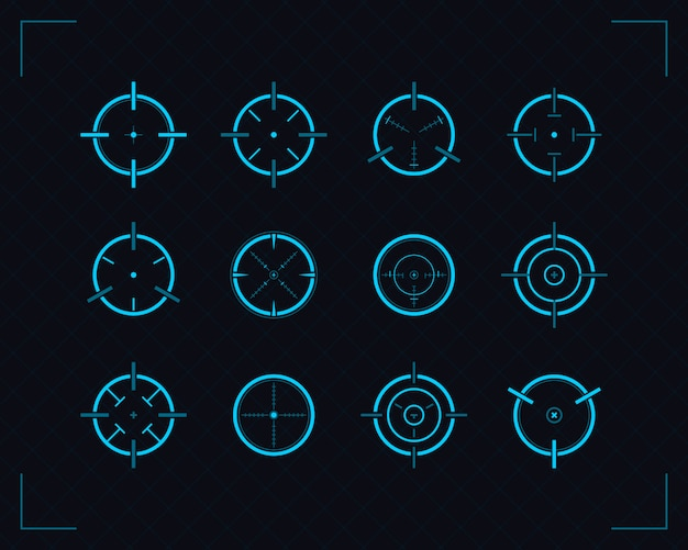 Set of icons target, sniper rifle targeting and aiming.