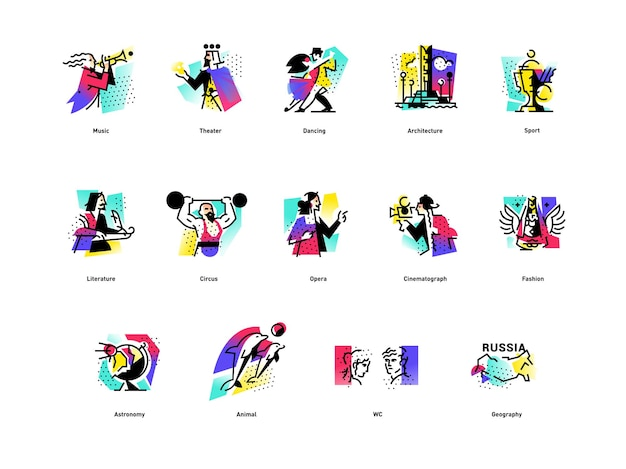 A set of icons on the theme of art forms