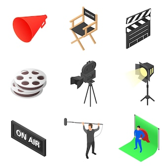 Set of icons on the theme of cinema.