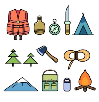 Set of icons on the theme of hiking