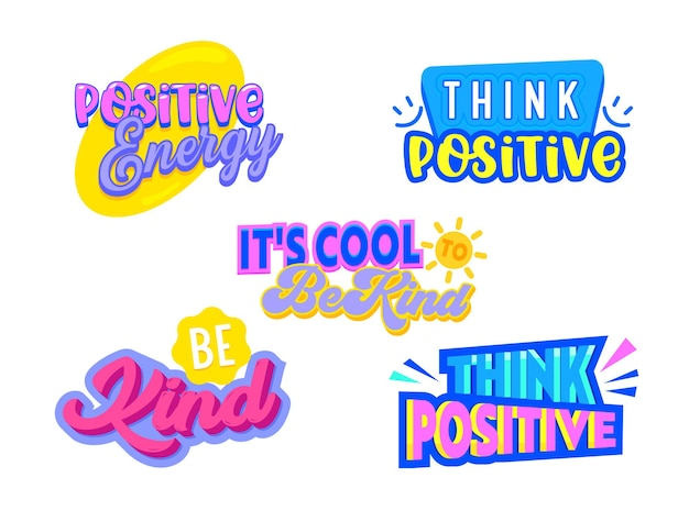 Set of icons think positive, banners with colorful elements isolated on white background. motivational optimistic aspirational quotes, prints for t-shirt, phrases for postcard. vector illustration