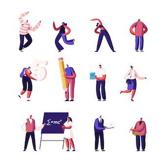 Set of icons tiny male and female characters with huge pen, people dancing, sports workout, students study mathematics or physics in university, businessman and artist. cartoon vector illustration