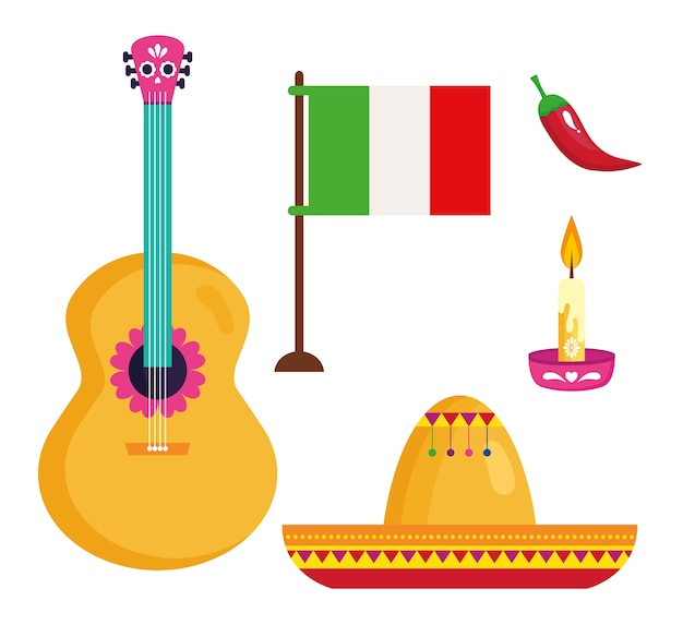 Set icons traditional for celebration of independence mexico.