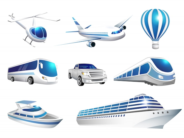 Set of icons transport