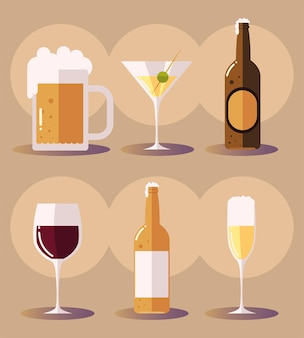 Set icons with beer martini beer bottle wine glass drinks